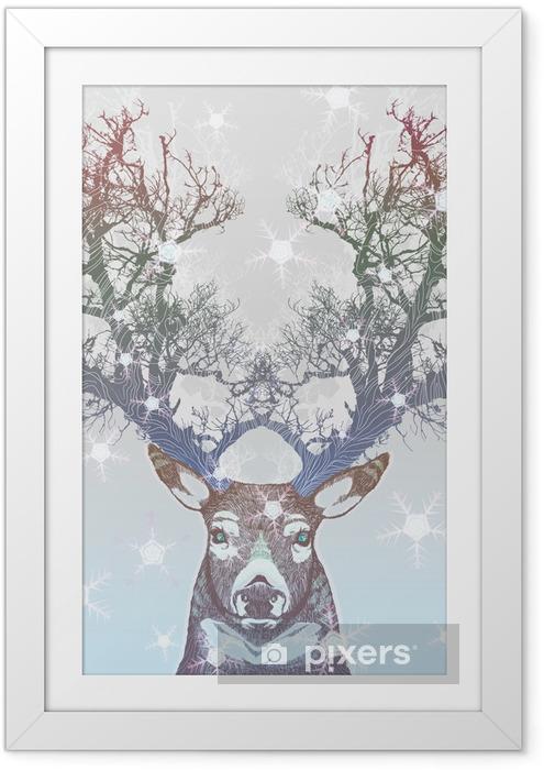 Poster en cadre Corne Frozen arbre cerf -