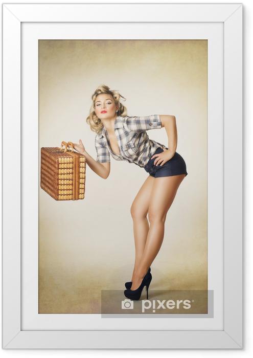 Ingelijste Poster Pinup meisje - Vakantie