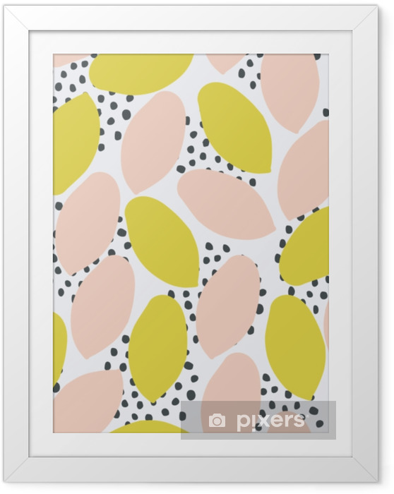 Abstrakt sømløs mønster i grøn, fersken og sort på hvid baggrund. Indrammet plakat - Grafiske Ressourcer