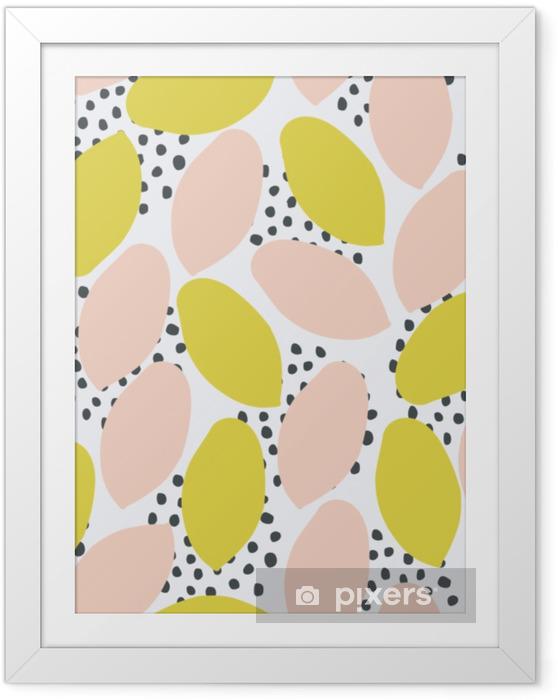Innrammet plakat Abstrakt sømløs mønster i grønt, fersken og svart på hvit bakgrunn. - Grafiske Ressurser