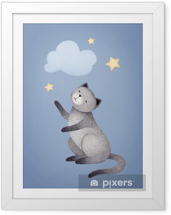Ingelijste Poster Aquarel illustratie van schattige kat. perfect voor de wenskaart - Grafische Bronnen