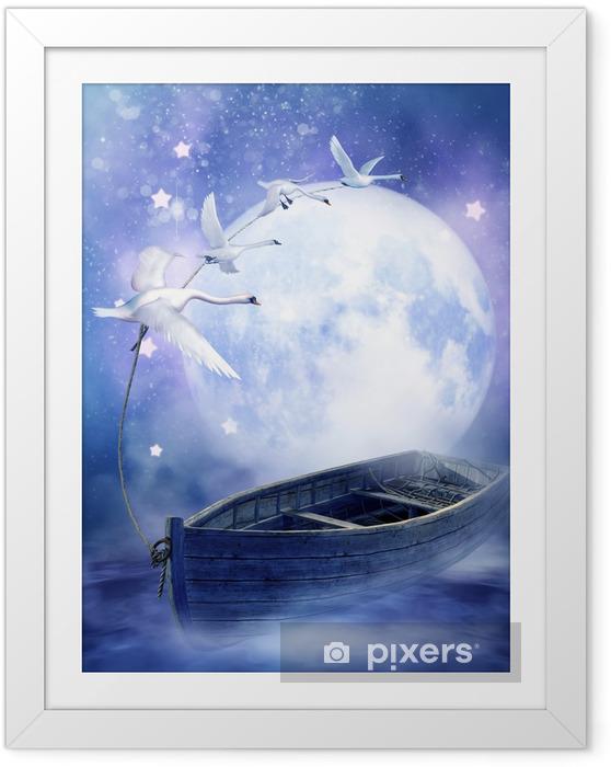 Ingelijste Poster De boot in de wolken getrokken door zwanen - Zwanen
