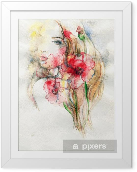 Plakat w ramie Kobieta i kwiaty - Tematy