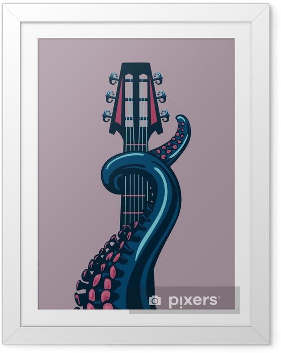 Póster com Moldura Polvo tentáculo está segurando um riff de guitarra. - Hobbies e Lazer