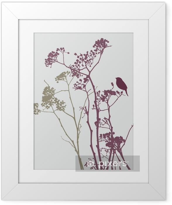 Ingelijste Poster Vogel op weide bloemen - Bloemen en Planten