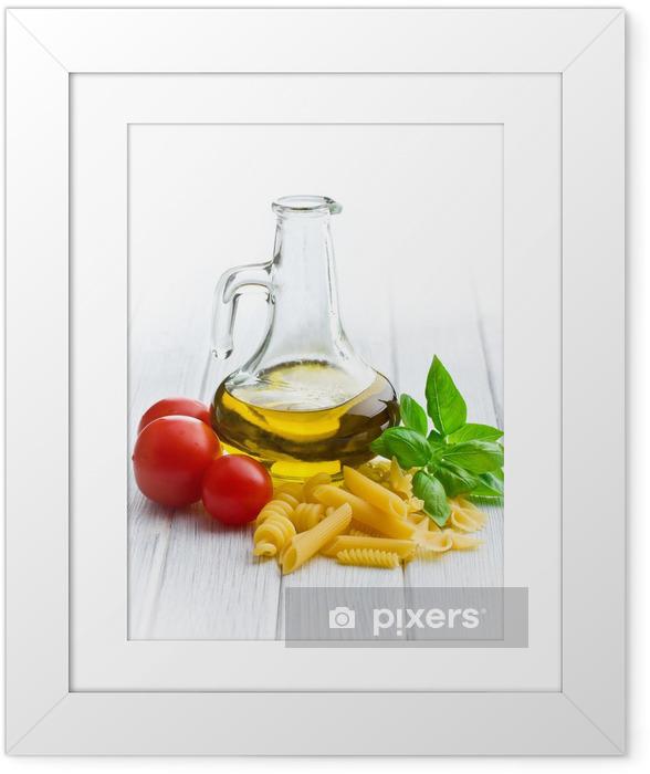 Poster en cadre Pâtes italiennes avec le basilic, tomates et huile d'olive - Thèmes