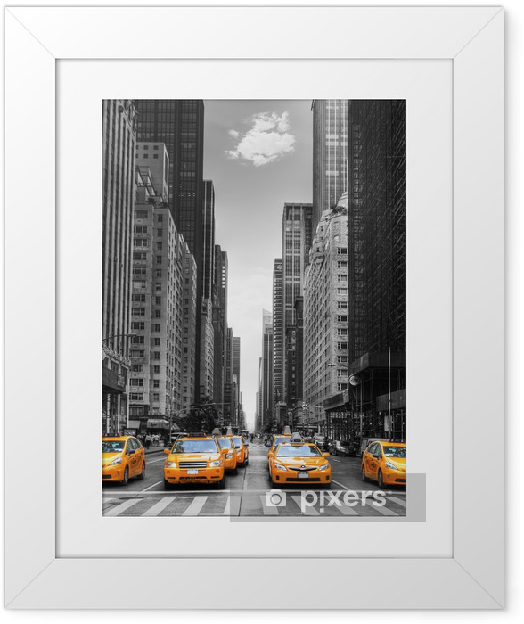 Póster Enmarcado Avenida de los taxis en Nueva York. -