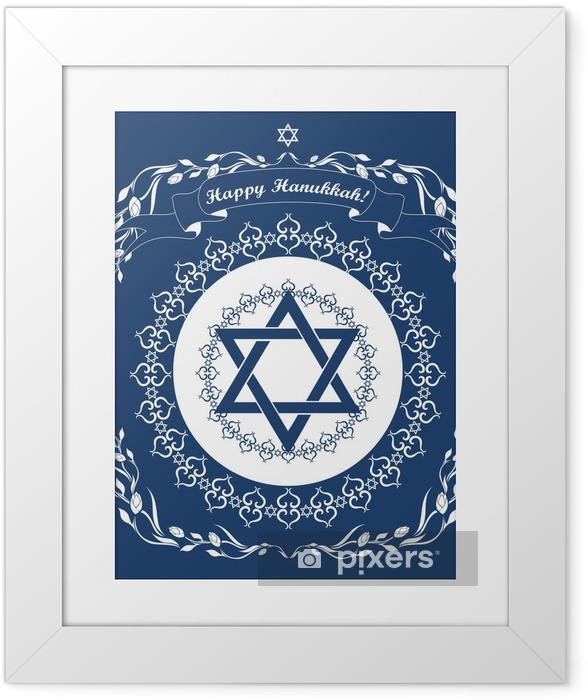 Plakat w ramie Żydowska Chanuka wakacyjne tła z Magen David gwiazdy - vect - Religie