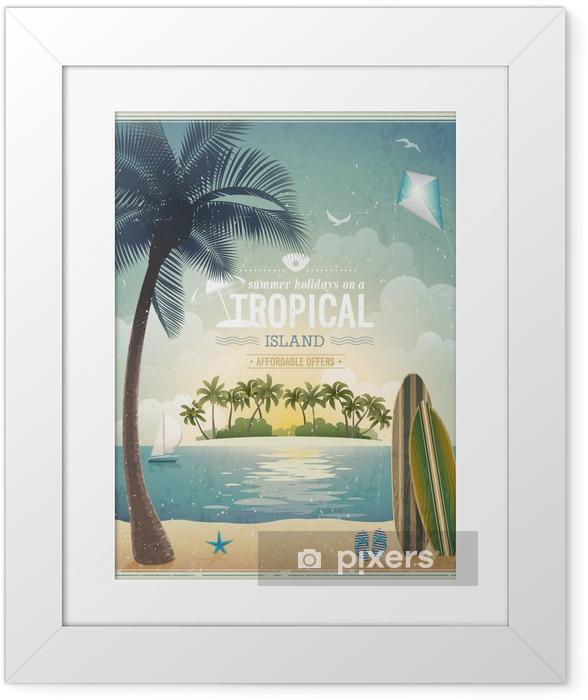 Vintage seaside view poster. Vector background. Framed Poster - Holidays