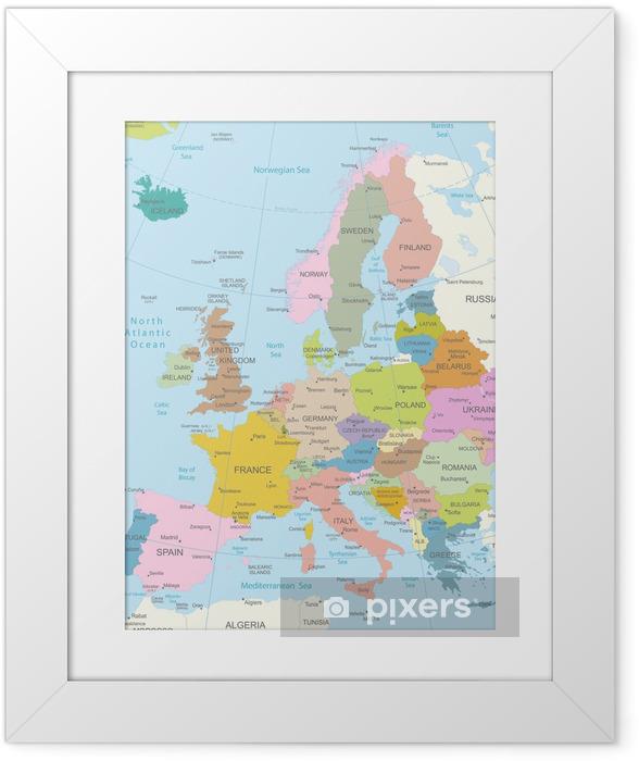 Plakat w ramie Europa-bardzo szczegółowe map.layers używane. - Tematy