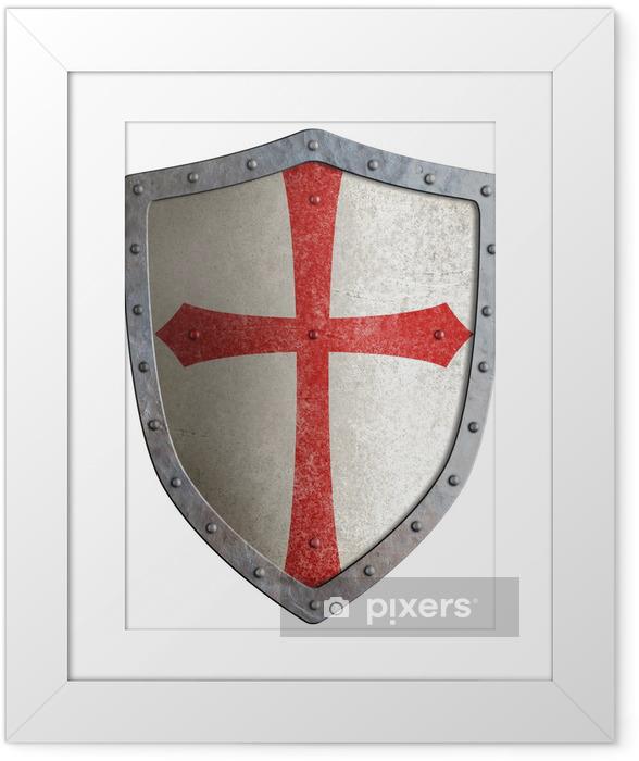Poster en cadre Le bouclier de métal de chevalier templier ou croisé isolé - Signes et symboles