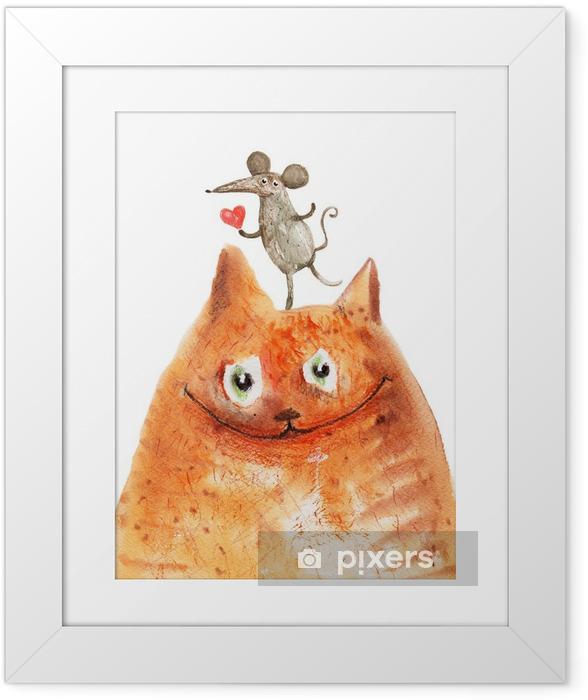 Çerçeveli Poster Mause ile kedi - Haleti ruhiye