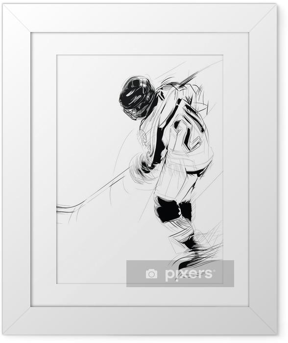 Plakat w ramie Ilustracja rysunek tuszem z lodem Hickey gracza .. - Sporty drużynowe