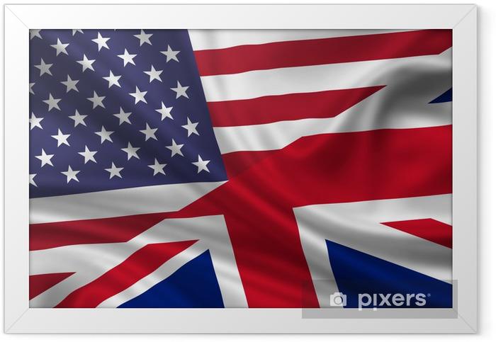 Poster en cadre USA Royaume-Uni Drapeau Fahne Flagge Amérique Grossbritannien - Thèmes