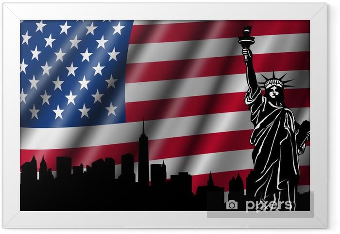 Poster i Ram USA amerikanska flaggan med Frihetsgudinnan Skyline Silhouette - Nationsflaggor