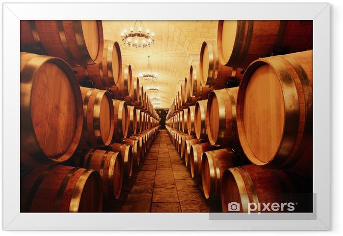 Poster en cadre Cave à vin avec des tonneaux -