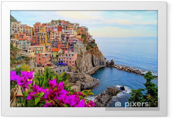 Ingelijste Poster Cinque Terre kust van Italië met bloemen - Thema's