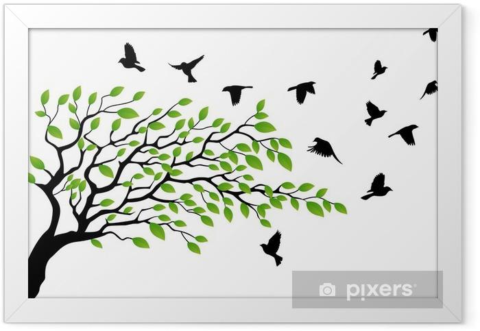 Poster en cadre Arbre avec oiseau en vol - Thèmes