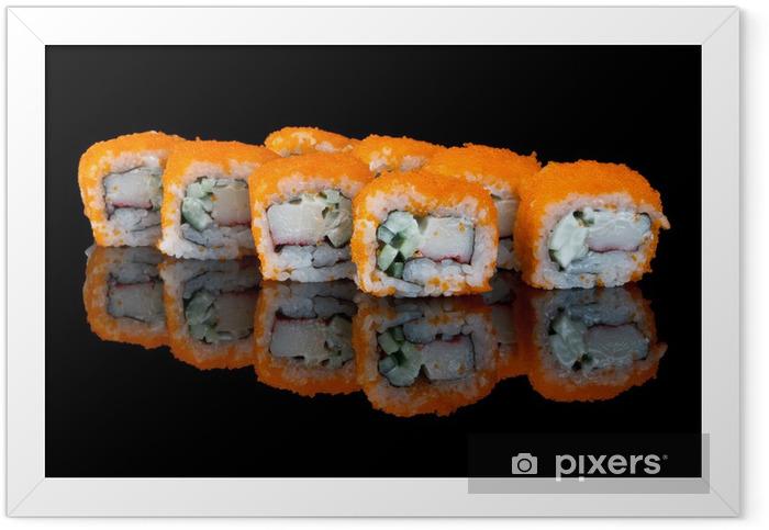 Ingelijste Poster Sushi met vliegende vis eieren - Sushi