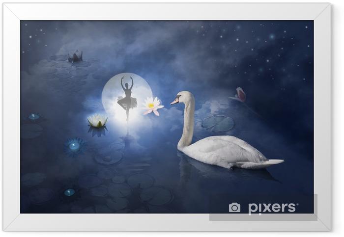 Ingelijste Poster Zwaan met ballerina op maan - Zwanen