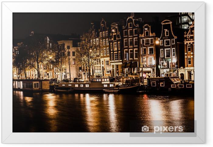 Poster en cadre Amsterdam dans la nuit, les Pays-Bas - Villes européennes