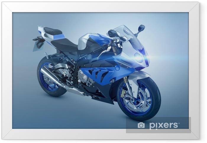 Plakat w ramie Niebieski Motorcycle Sport - Transport drogowy