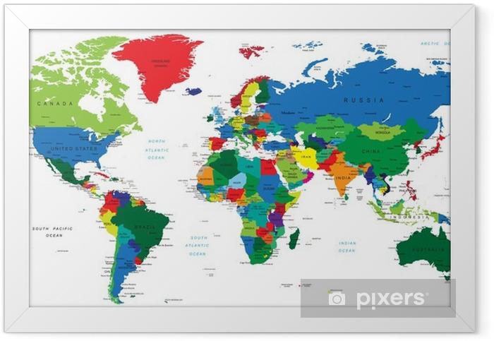 Ingelijste Poster Wereldkaart-landen - Thema's