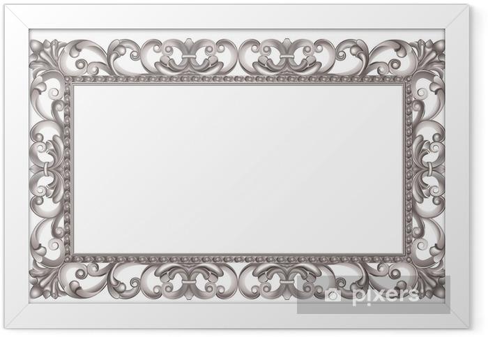 Ingelijste Poster Barok zilveren opengewerkte, Italiaanse stijl - Tekens en Symbolen