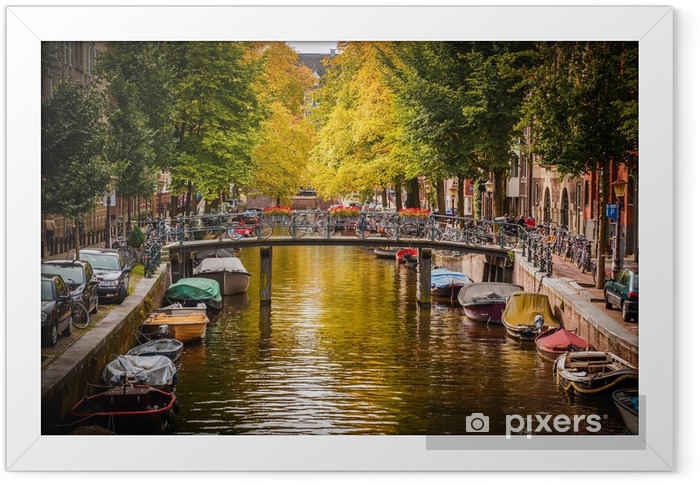 Kanal i Amsterdam Indrammet plakat -