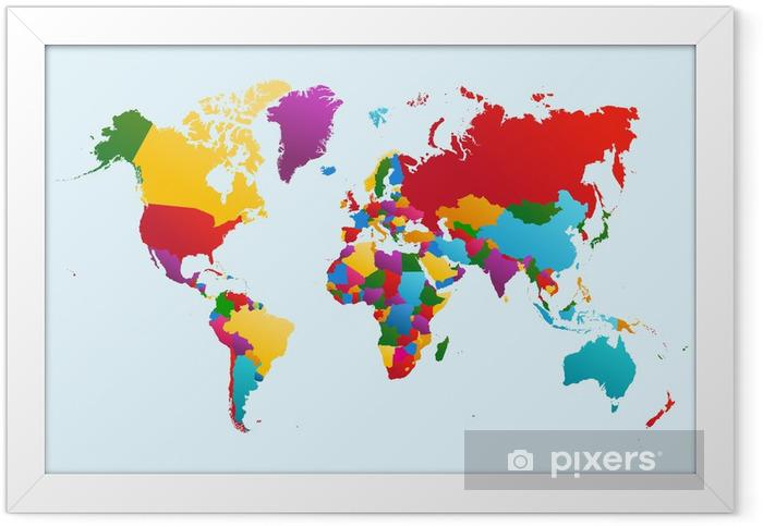 Póster Enmarcado Mapa del mundo, los países ilustración colorida archivo vectorial EPS10. -