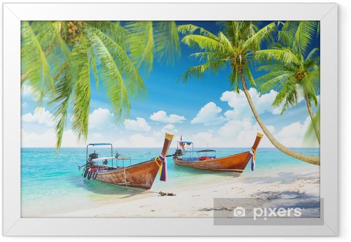 Ingelijste Poster Tropische eilanden met boten - Thema's