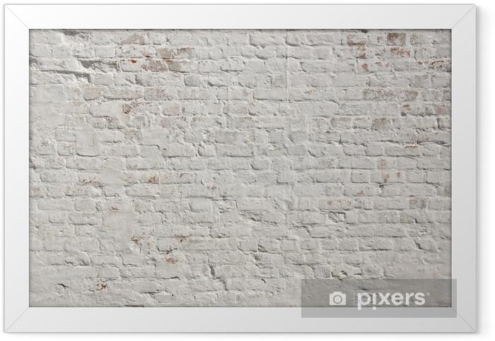 Plakat w ramie Białe grunge ceglany mur w tle - Style