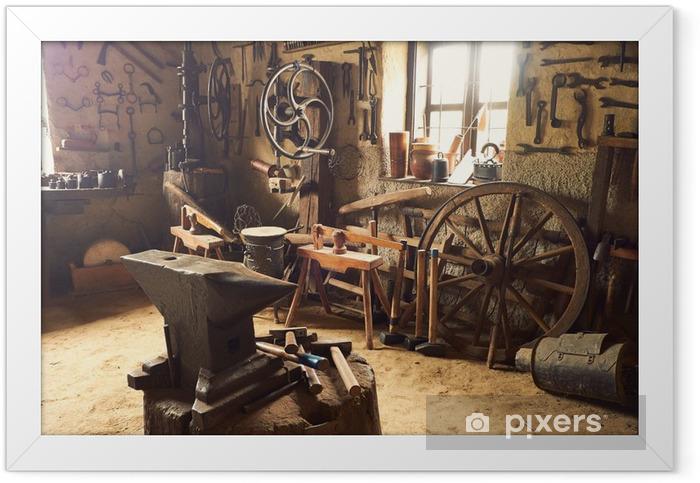 Ingelijste Poster Oude werkplaats - Industriële en Commerciële Gebouwen