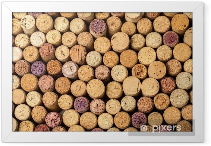 Póster Enmarcado Muro de corchos de vino usados. - Fondos