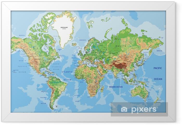 Plakát v rámu Velmi podrobné satelitní fyzický svět s označením. - iStaging