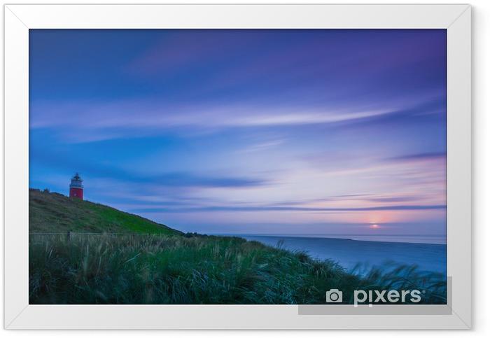 Ingelijste Poster Vuurtoren Texel bij zonsondergang - Eilanden
