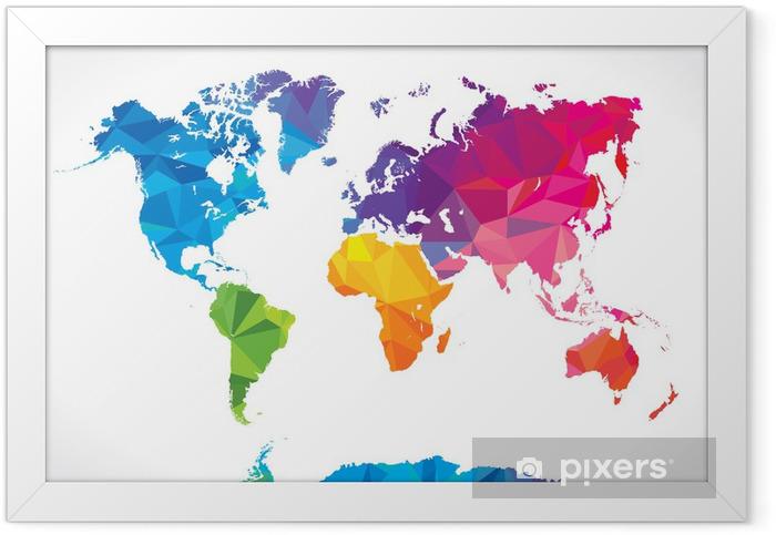 Ingelijste Poster Low poly wereldkaart - Abstract