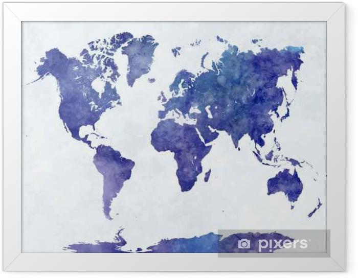 Póster Enmarcado Mapa del mundo en acuarela - Viajes
