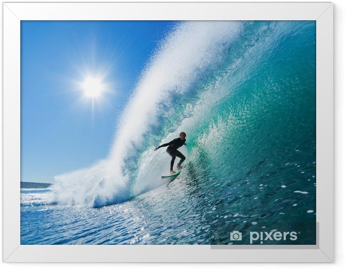 Plakat w ramie Surfer na fali Błękitny ocean - Tematy