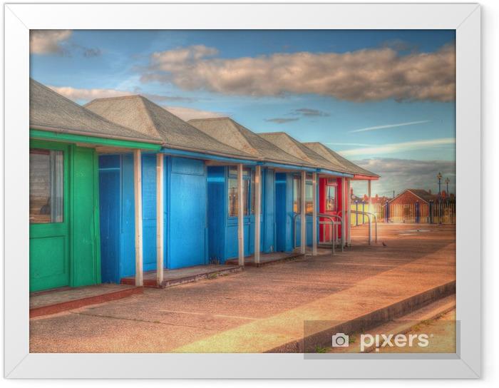 Poster en cadre Lumineuses cabines de plage colorées - Eau