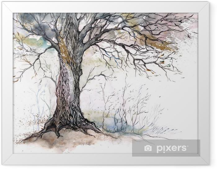 Gerahmtes Poster Alten Baum -