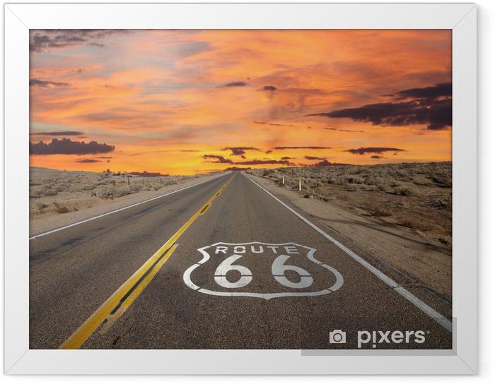 Plakat w ramie Route 66 chodnik znak pustyni Mojave sunrise - Tematy