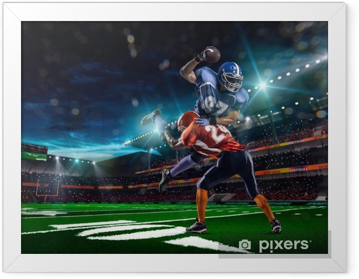 Ingelijste Poster American football-speler in actie bij speltijd - Team sport
