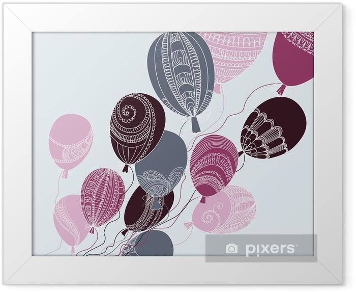Poster en cadre Illustration avec des ballons colorés volants - Pour les enfants