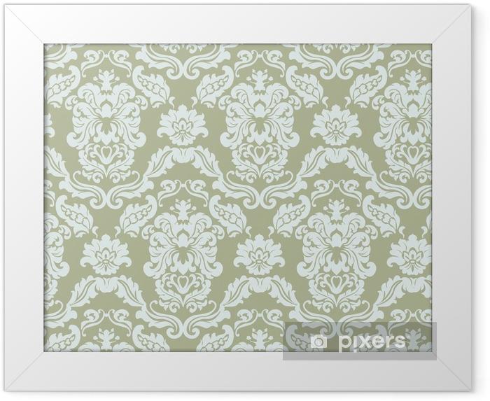 Ingelijste Poster Bloemen ornament patroon met gestileerde lelies bloemen. elegante luxe textuur voor achtergronden, achtergronden en uitnodigingskaarten. groene olijfkleur. vector - Grafische Bronnen
