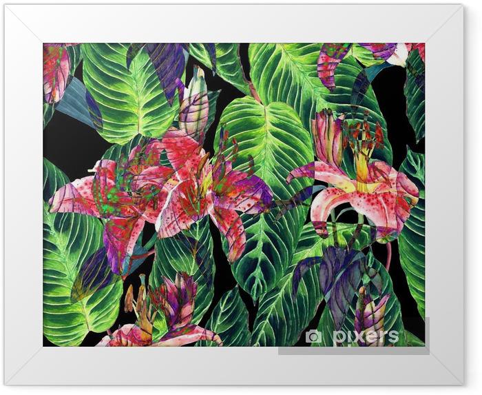 Ingelijste Poster Naadloos tropisch bloemenpatroon. Roze lelies en exotische Calathea bladeren op een zwarte achtergrond, omgekeerd effect. Handgeschilderde aquarel kunst. Textuur van de stof. - Grafische Bronnen