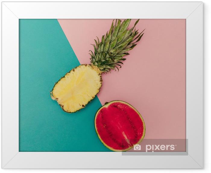 Póster com Moldura Mix Tropical. Abacaxi e melancia. Estilo minimal - Estilo de Vida