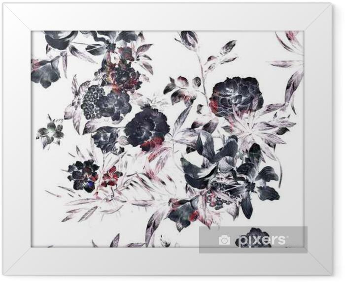 Poster en cadre Aquarelle sur papier des feuilles et des fleurs, motif sans couture sur fond blanc - Ressources graphiques