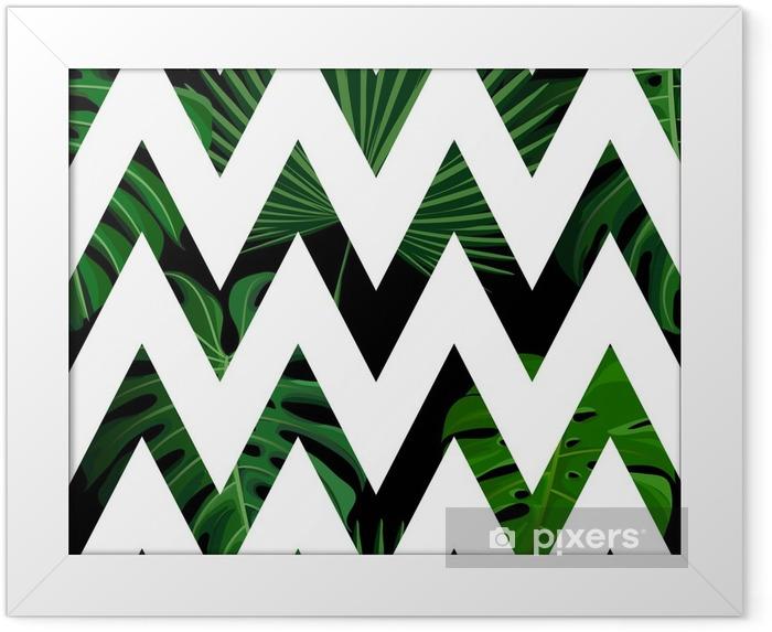 Plakat w ramie Tropikalny wzór z egzotycznych liści palmowych. - Zasoby graficzne