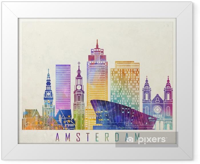 Póster com Moldura Cartaz de aquarela de marcos de Amesterdão - Paisagens